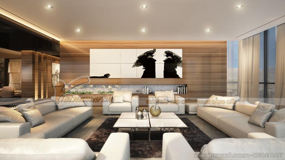 thiết kế nội thất phòng khách hiện đại, rộng rãi trong căn hộ penthouse