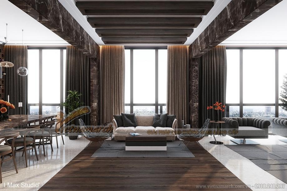 Không gian phòng khách rộng và được thiết kế có view nhìn đẹp nhất