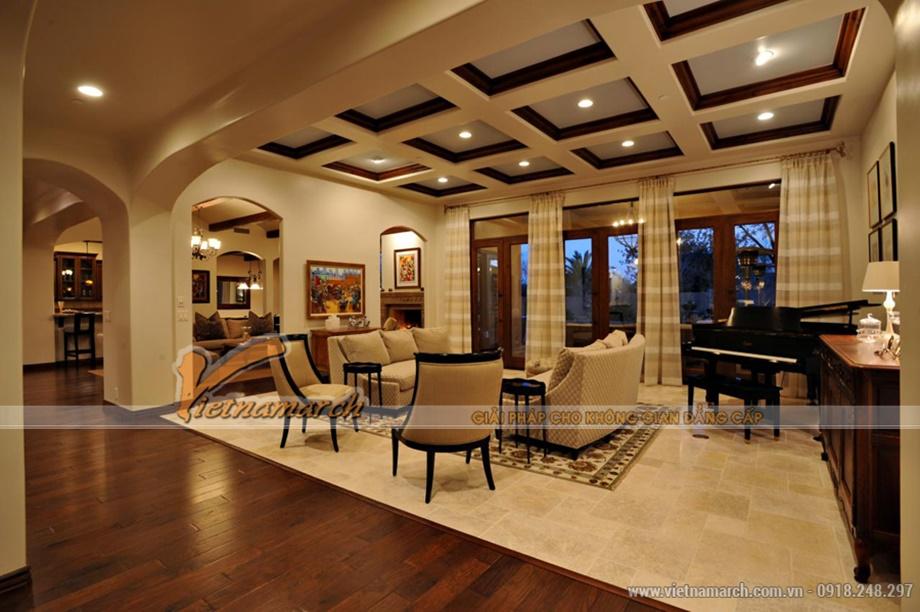 Trần thạch cao phòng khách được thiết kế hiện đại