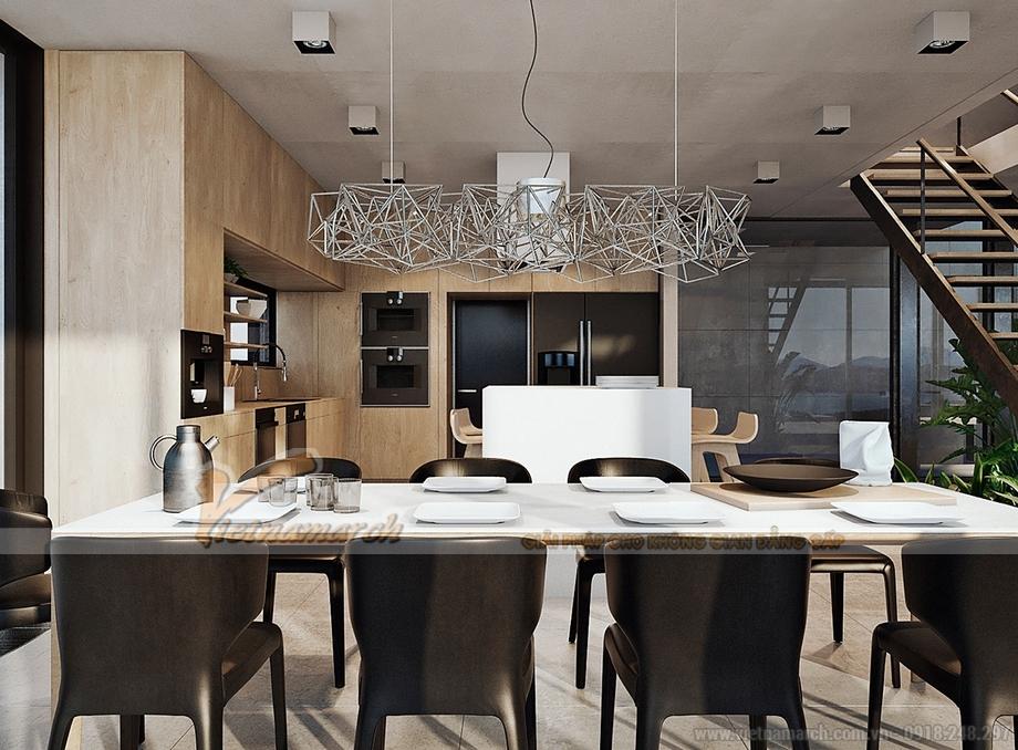 Phòng bếp vô cùng hiện đại với những chi tiết nội thất độc đáo