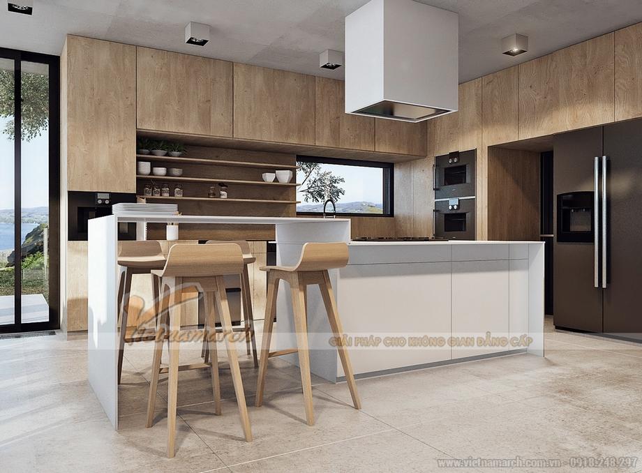 Tủ bếp gỗ âm tường cao cấp và thông minh