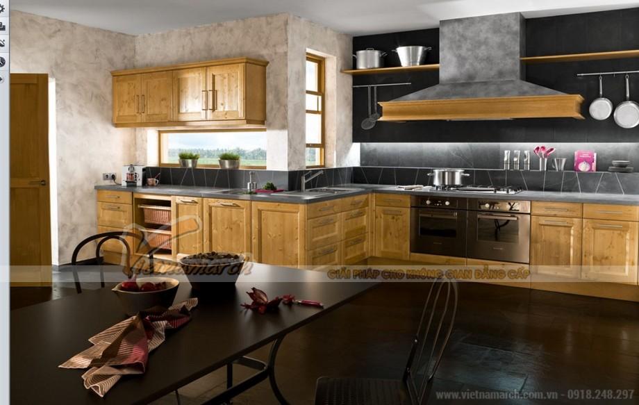 Thiết kế tủ bếp gỗ theo phong cách cổ điển