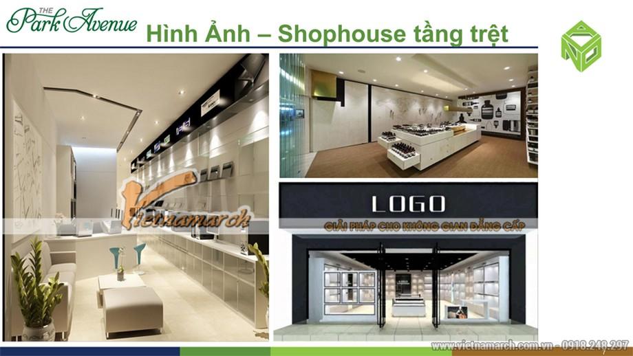 Hình ảnh Shophouse tầng trệt được thiết kế thành một shop bán sản phẩm