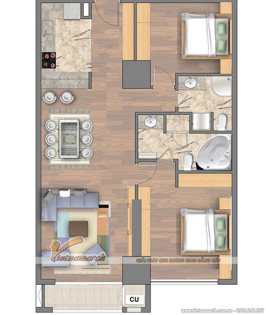 Mặt bằng phương án thiết kế căn hộ chung cư  Royal City