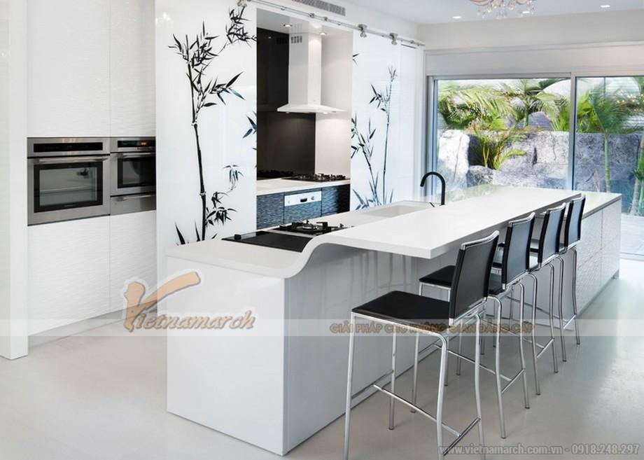 Thiết kế tủ bếp gam màu trắng đen