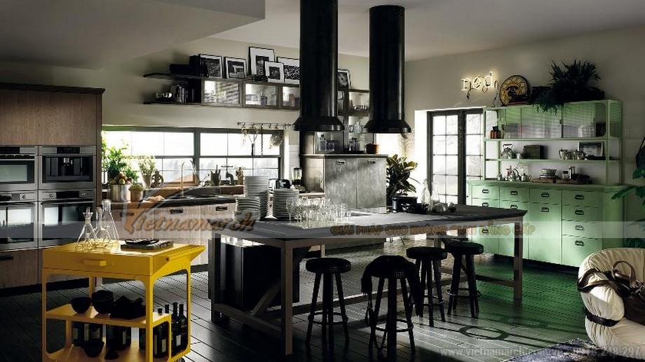 Mẫu thiết kế tủ bếp với gam màu tương phản