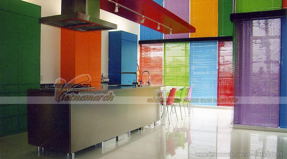 Thiết kế tủ bếp với gam màu bảy sắc cầu vồng