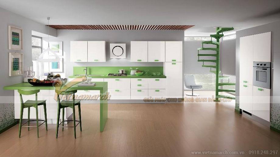 Thiết kế tủ bếp gam màu trắng -xanh