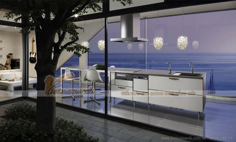 Thiết kế tủ bếp với không gian thoải mái