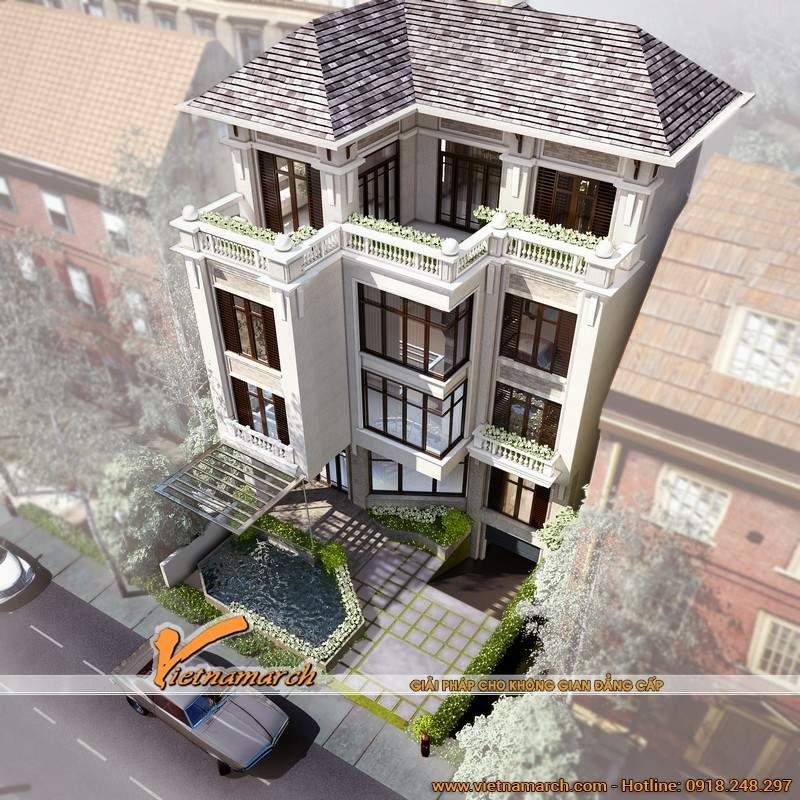 Mẫu biệt thự đẹp 4 tầng mang hơi hướng kiến trúc Pháp