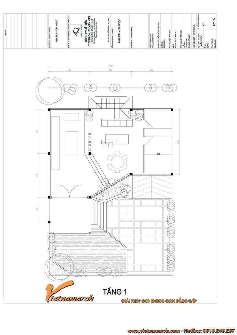 Mặt bằng tầng 1 mẫu nhà biệt thự đẹp 4 tầng