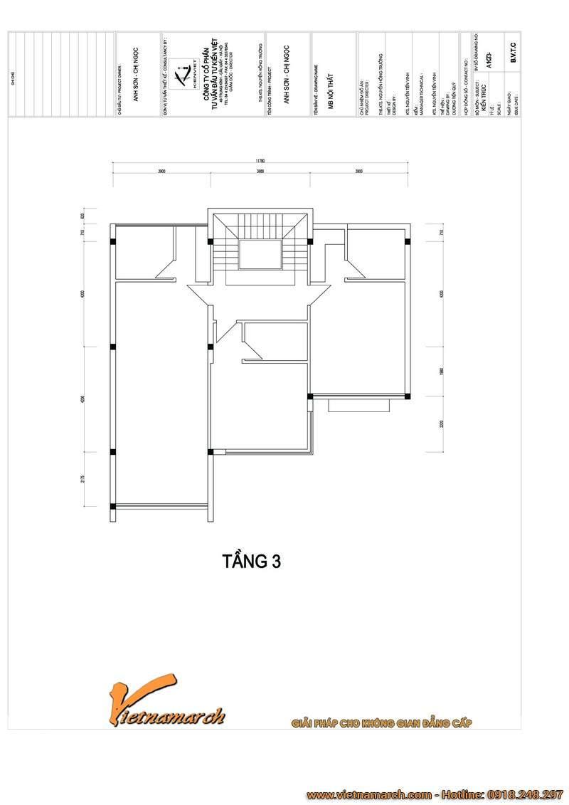 Mặt bằng tầng 3 mẫu nhà biệt thự đẹp 4 tầng