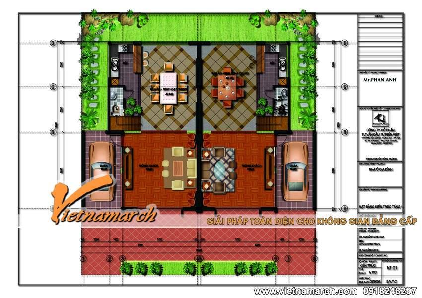 Mặt bằng tầng 1 mẫu nhà biệt thự đẹp 3 tầng