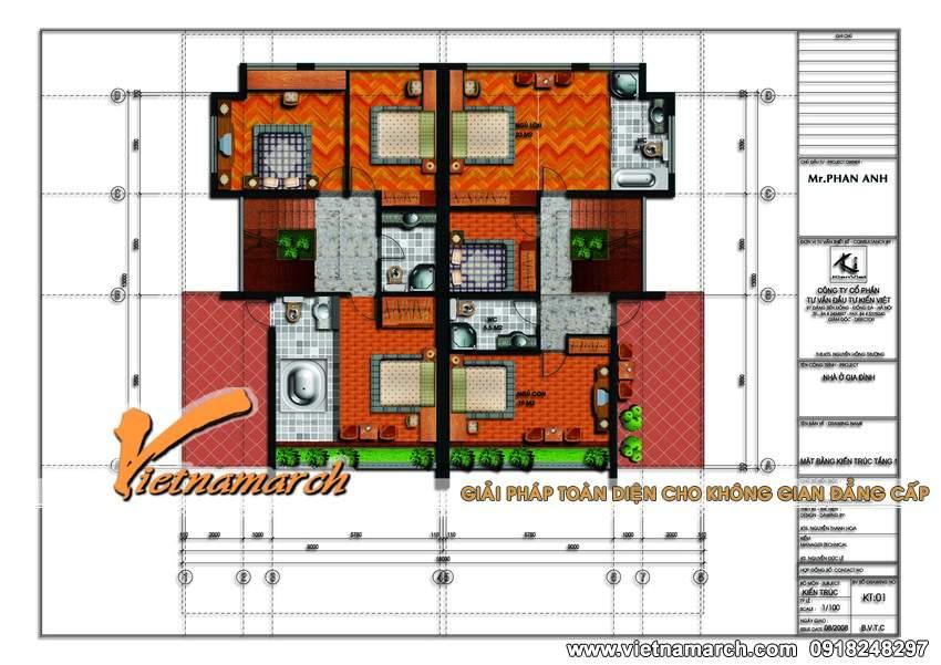 Mặt bằng tầng 2 mẫu nhà biệt thự đẹp 3 tầng