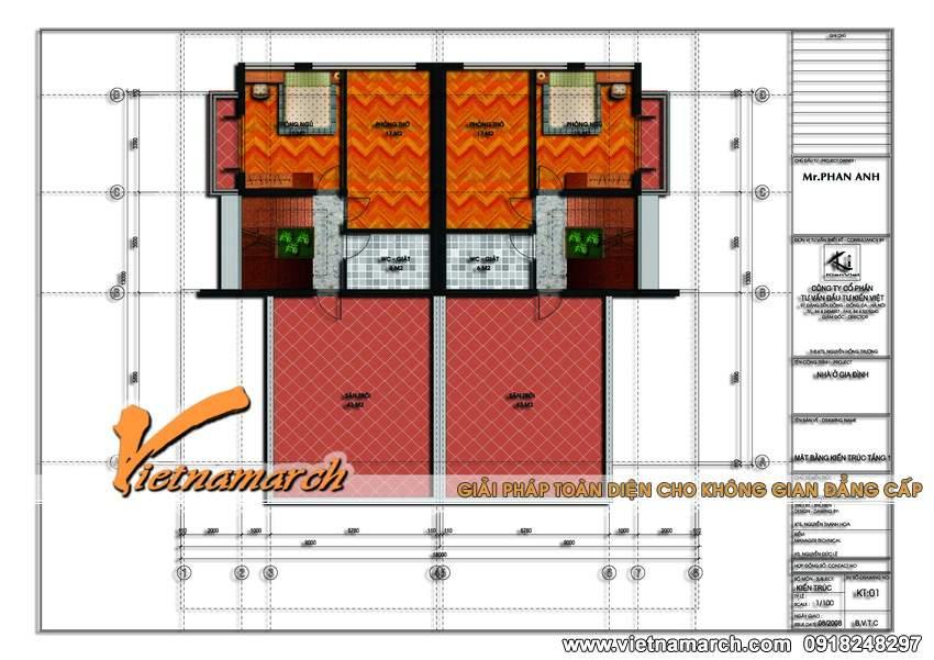 Mặt bằng tầng 3 mẫu nhà biệt thự đẹp 3 tầng