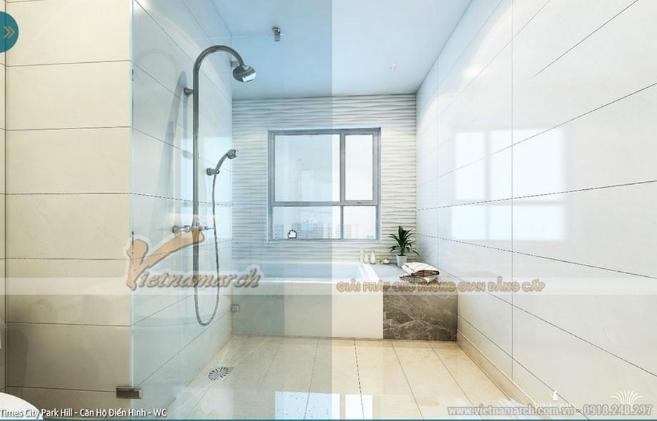 Màu trắng tinh khôi và nội thất đơn giản đã mang đến không gian thoải mái cho phòng tắm
