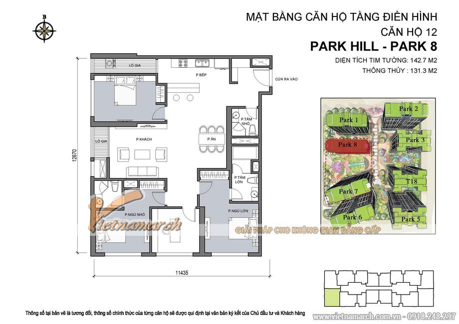 Mặt bằng hiện trạng căn hộ 12 Park 8