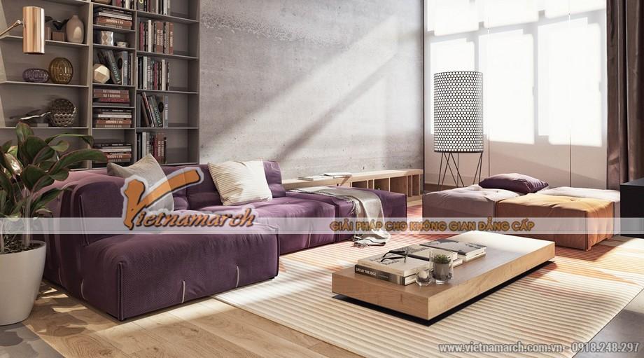 Phòng khách mộc mạc và được thiết kế đơn giản trong căn hộ Duplex
