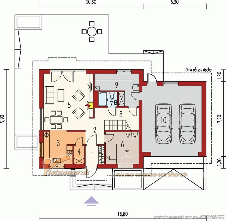 Thiết kế nhà cấp 4 hiện đại có gác lửng, mái thái nhà anh Hùng - Hưng Yên