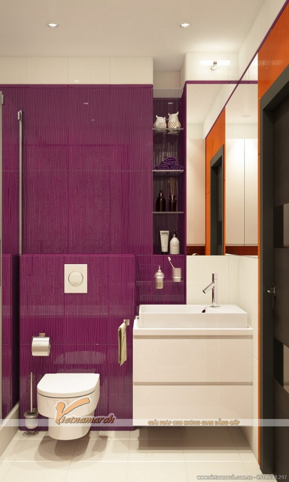 Phòng tắm với những đồ nội thất hiện đại