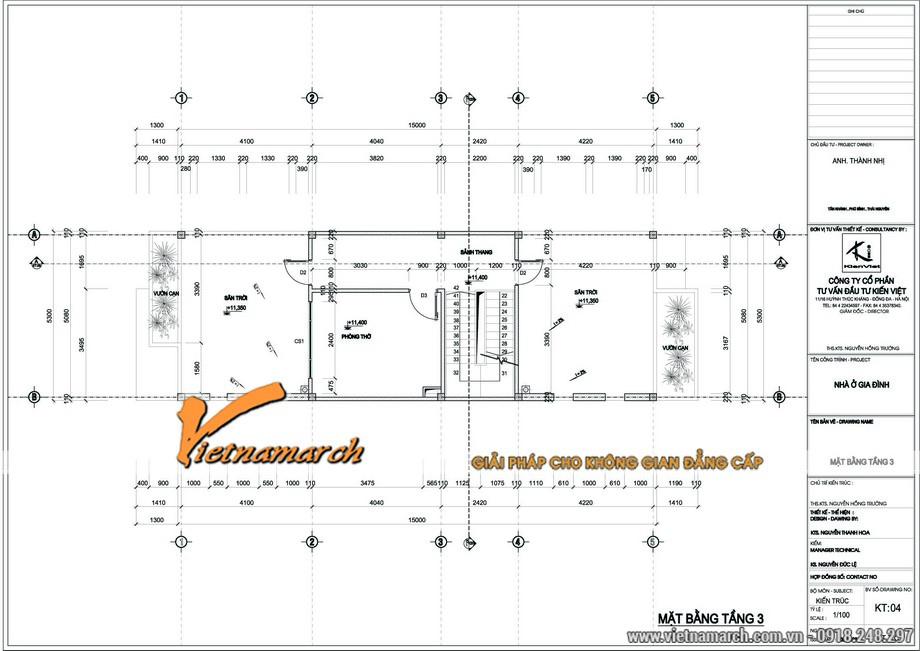 Bản thiết kế mặt bằng tầng 3 cho ngôi nhà lô phố 4 tầng nhà anh Thành - Thái Nguyên