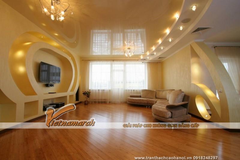 Mẫu trần thạch cao đẹp phòng khách chung cư 24