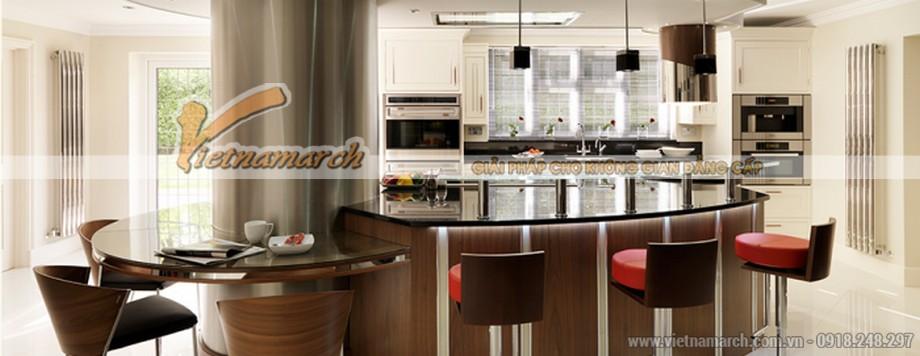Thiết kế nội thất nhà bếp đẹp hiện đại, với đảo bếp và cũng là bàn bar