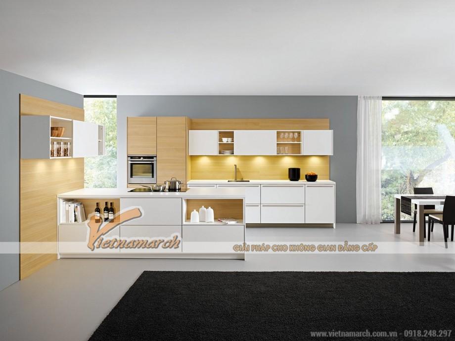 Tủ bếp cao cấp sáng màu