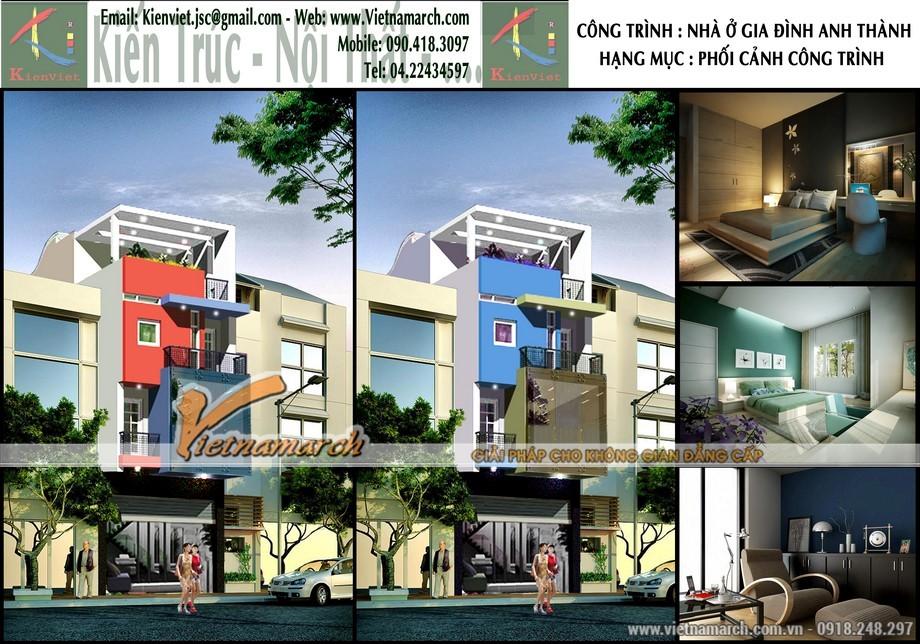 Phối cảnh tổng thể thiết kế nhà lô phố 4 tầng của anh Thành - tại Thái Nguyên