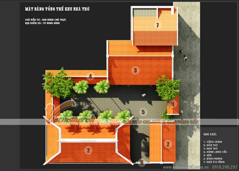 Phối cảnh tổng thể thiết kế nhà thờ họ kết hợp nhà ở tại Ninh Bình