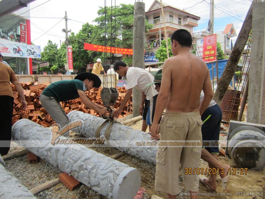 Thi công nhà thờ họ bằng bê tông giả gỗ bác Võ Huỳnh Sang- Kỳ Anh- Hà Tĩnh-03