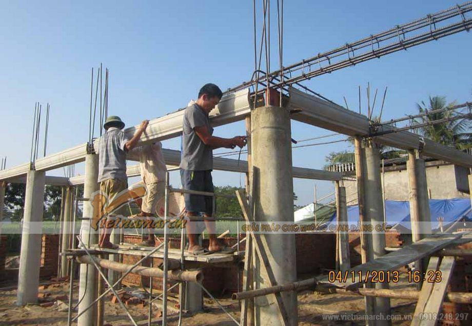 Thi công nhà thờ họ bằng bê tông giả gỗ bác Võ Huỳnh Sang- Kỳ Anh- Hà Tĩnh-04