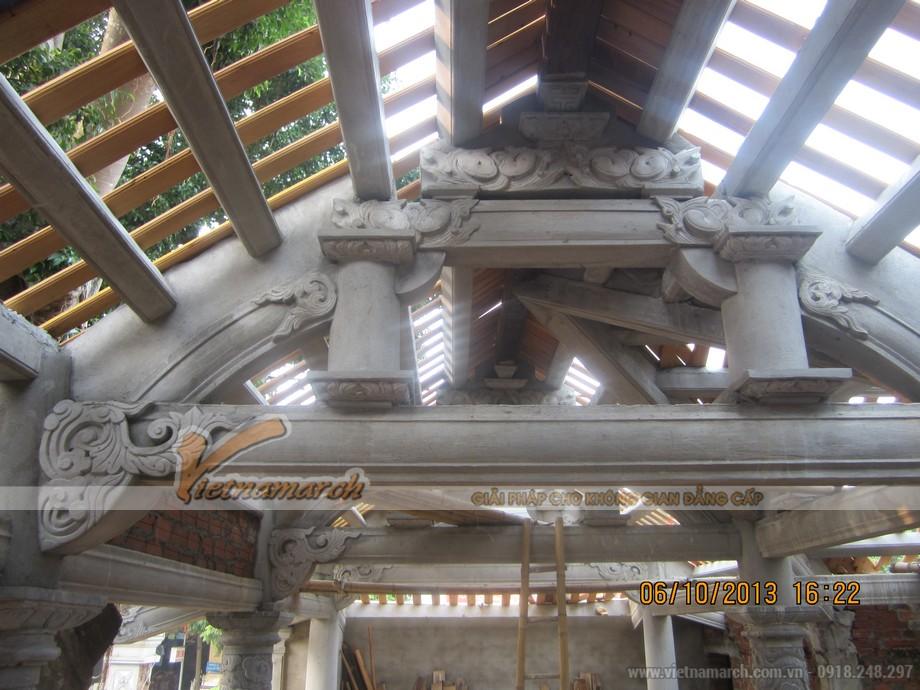 Thi công nhà thờ họ bằng bê tông giả gỗ bác Võ Huỳnh Sang- Kỳ Anh- Hà Tĩnh-05