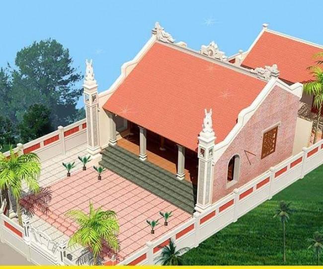 Thiết kế nhà thờ họ mặt bằng chữ nhị tại Tiền Hải - Thái Bình