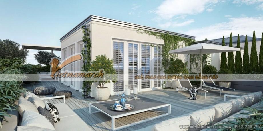 Không gian ngoài trời được thiết kế thành nơi nghỉ dưỡng hiện đại