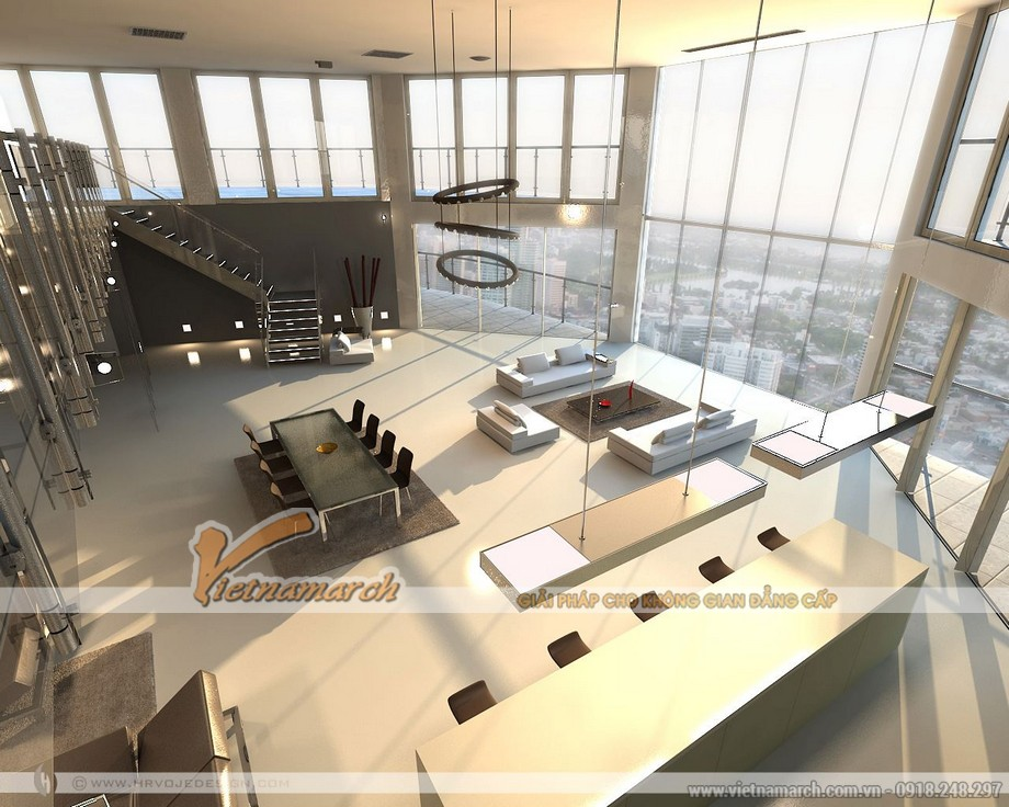 Toàn cảnh không gian của phòng khách và phòng ăn trong căn Penthouse