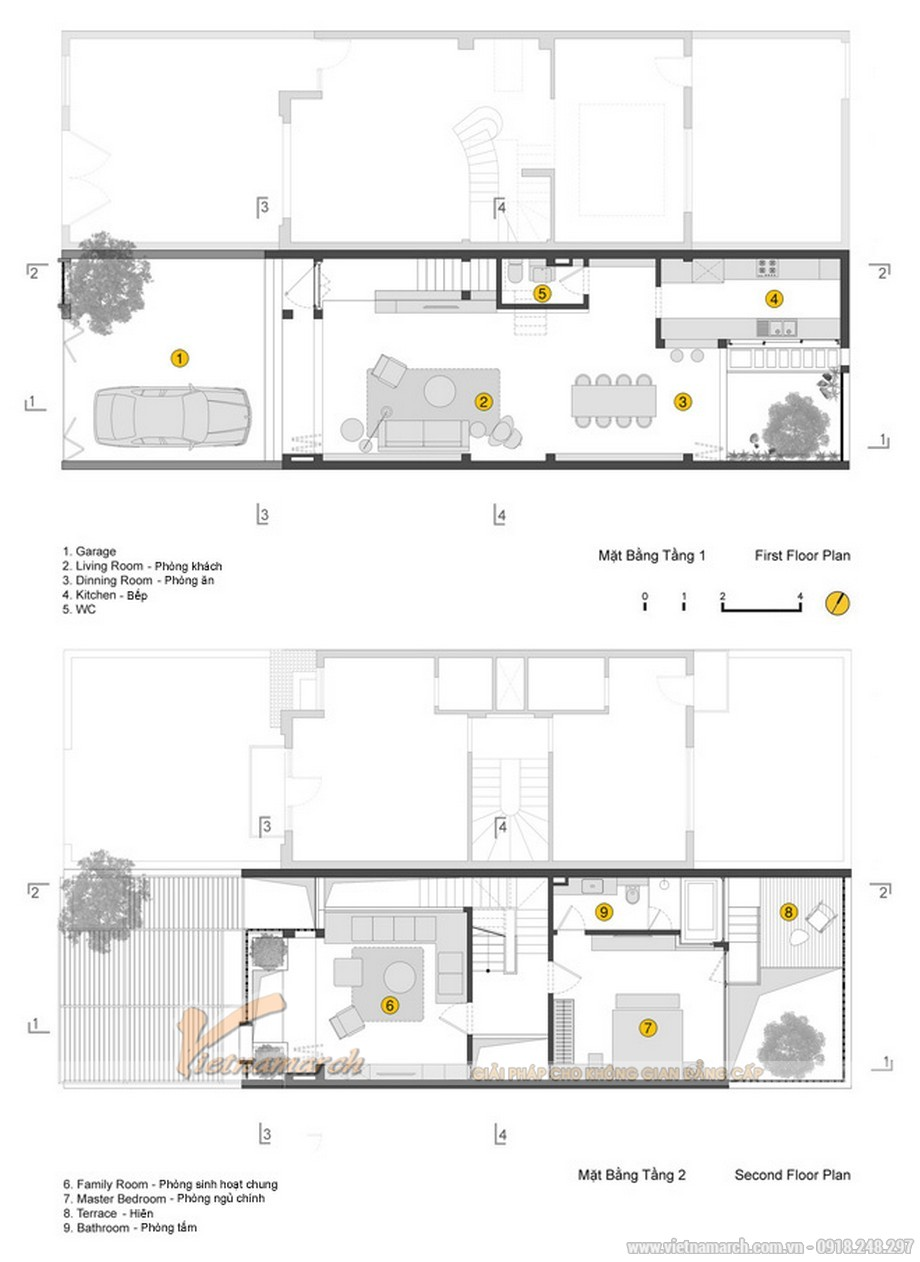 Mặt bằng tầng 1 và tầng 2 của căn hộ