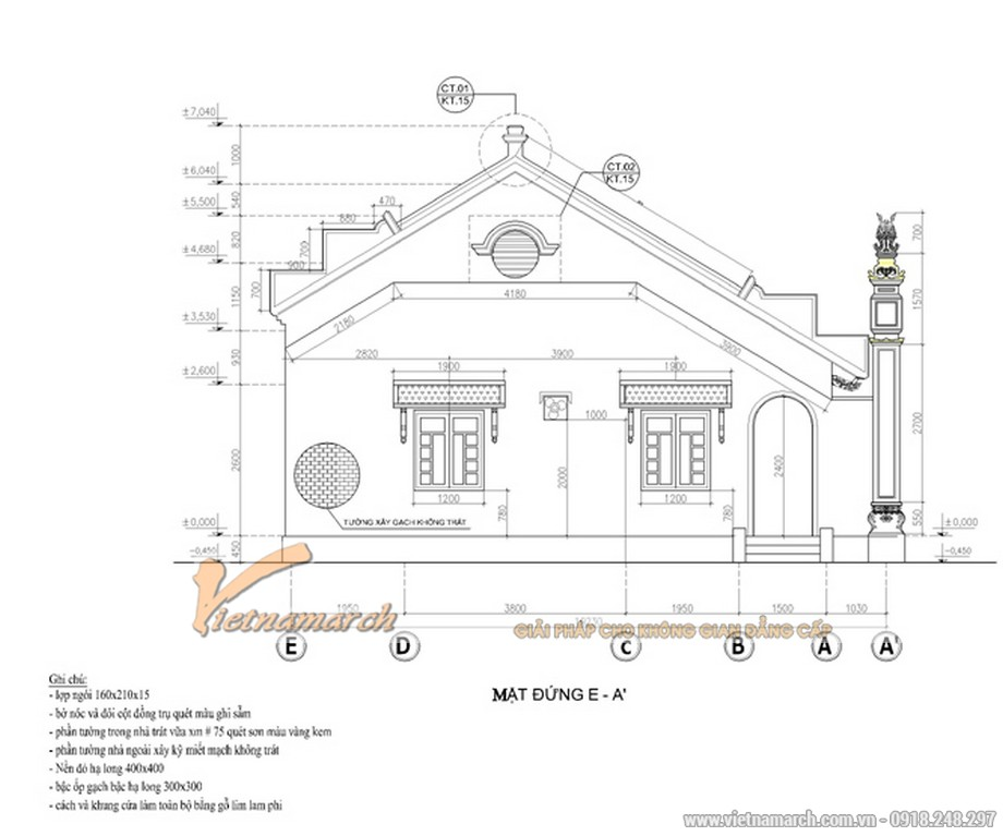 Thiết kế mặt bên của ngôi nhà thờ