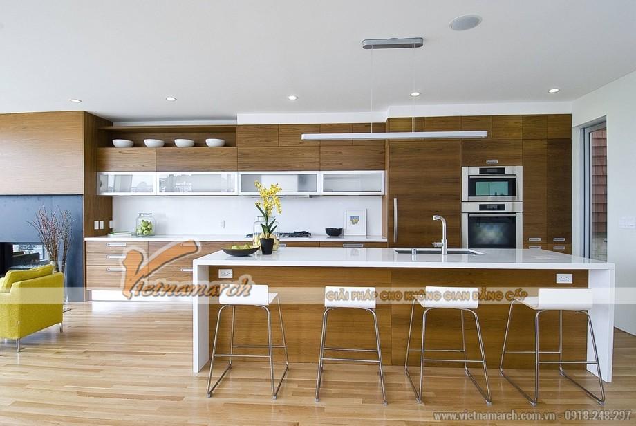 Thiết kế tu bep cao cap thông minh tiện nghi cho phòng bếp nhà lô phố hiện đại