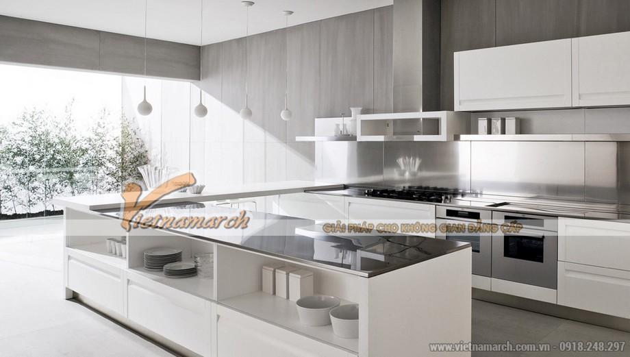 Thiết kế tủ bếp cao cấp cho phòng bếp nhà lô phố hiện đại