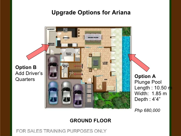 Thiết kế mặt bằng tầng 1 của biệt thự 3 tầng