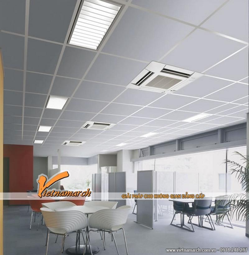 Đèn LED âm trần mỏng lắp đặt trong văn phòng