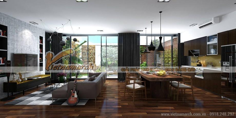 Thiết kế nội thất phòng khách cho biệt thự 3 tầng