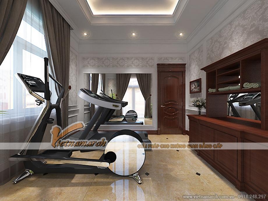 Thiết kế nội thất phòng gym cho biệt thự 3 tầng, phong cách tân cổ điển