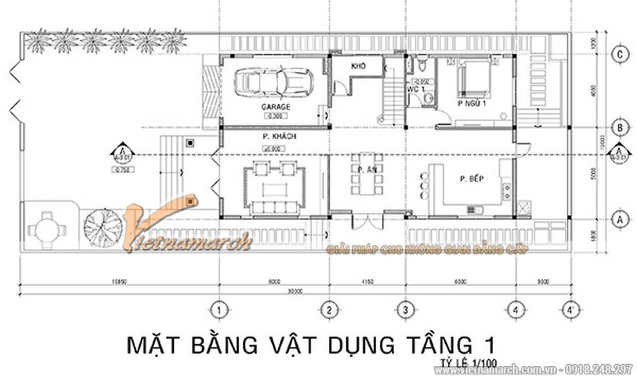 Thiết kế mặt bằng tầng 1 cho biệt thự 3 tầng, phong cách tân cổ điển