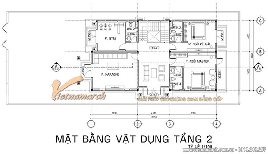 Thiết kế mặt bằng tầng 2 cho biệt thự 3 tầng, phong cách cổ điển