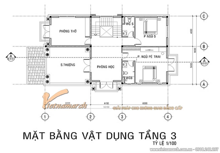 Thiết kế mặt bằng tầng 3 cho biệt thự 3 tầng, phong cách tân cổ điển