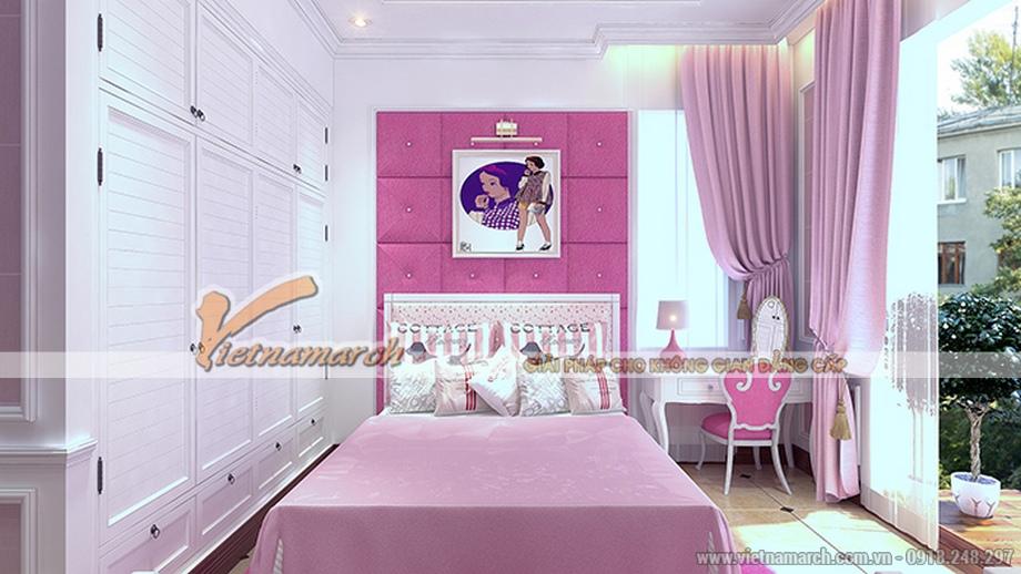 Thiết kế nội thất phòng ngủ bé gái cho biệt thự 3 tầng, phong cách tân cổ điển