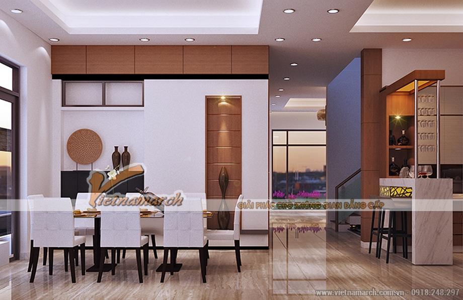 Thiết kế nội thất phòng ăn cho biệt thự 3 tầng, phong cách tân cổ điển
