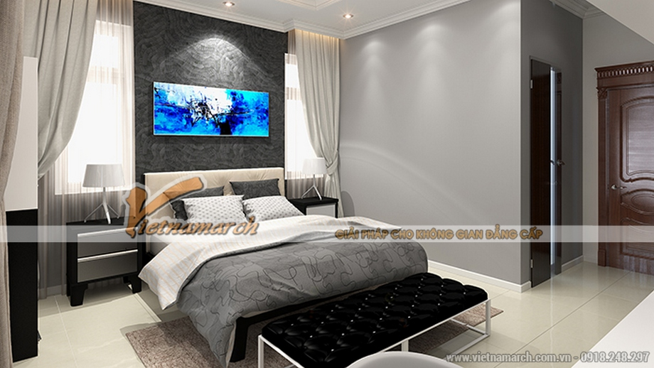 Thiết kế nội thất phòng ngủ cho biệt thự 3 tầng, phong cách tân cổ điển